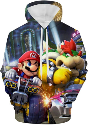 Mario Hoodie - Mario and Luigi 3D Print Hooded Pullover Sweatshirt