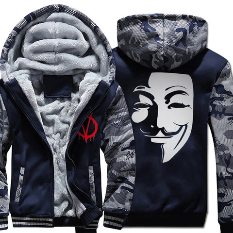 Image of V-Vendetta Jackets - Solid Color V-Vendetta Movie Series Fleece Jacket