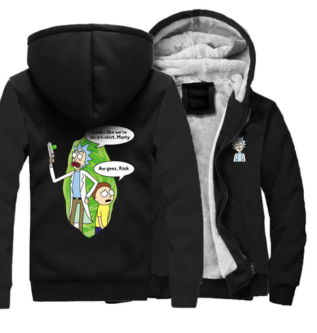 Image of Rick and Morty Jackets - Solid Color Rick and Morty Series Rick and Morty Cartoon Character Fleece Jacket