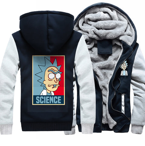 Image of Rick and Morty Jackets - Solid Color Rick and Morty Anime Series Science Fleece Jacket