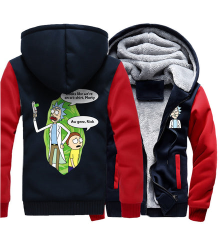 Rick and Morty Jackets - Solid Color Rick and Morty Series Rick and Morty Cartoon Character Fleece Jacket