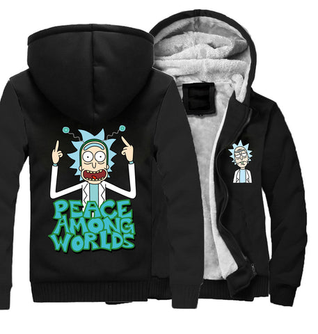 Image of Rick and Morty Jackets - Solid Color Rick and Morty Anime Series Spoof Fleece Jacket