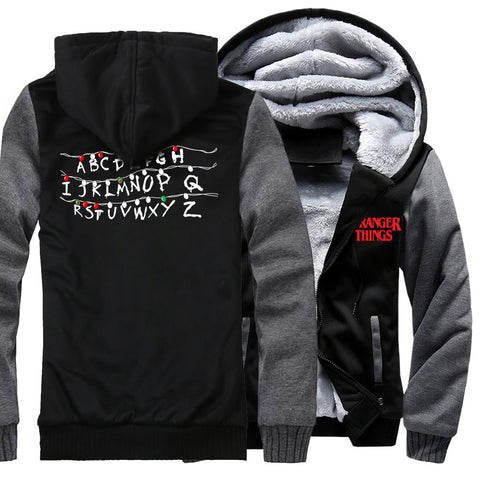 Image of Stranger Things Jackets - Solid Color Stranger Things Movie Series Super Cool Fleece Jacket