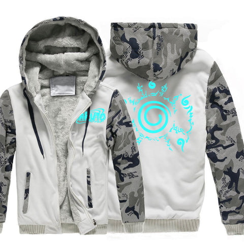 Image of Naruto Jackets - Solid Color Naruto Anime Series Naruto Luminous Sign Fleece Jacket