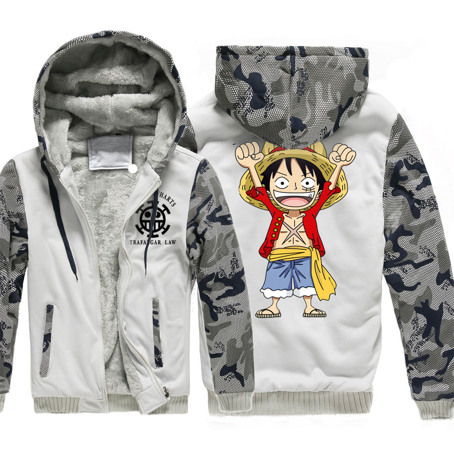One Piece Jackets - Solid Color One Piece Anime Series One Piece Sign Super Cool Fleece Jacket