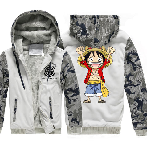 Image of One Piece Jackets - Solid Color One Piece Anime Series One Piece Sign Super Cool Fleece Jacket