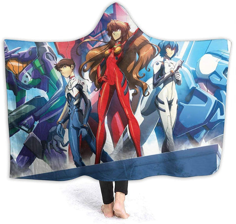 Anime Neon Genesis Evangelion Fleece Flannel Hooded Blankets