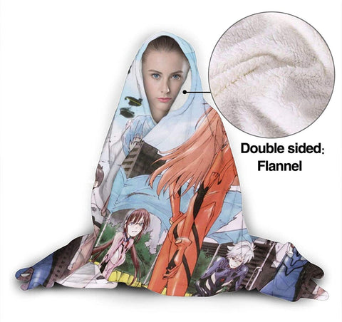 Neon Genesis Evangelion Fleece Flannel Hooded Blankets - Anime Travel Blankets