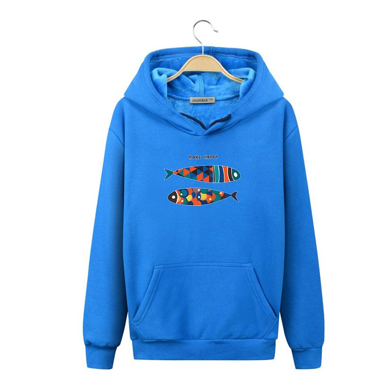 Harajuku Style Hoodies - Solid Color Harajuku Style Icon Series Color Fish Fashion Fleece Hoodie