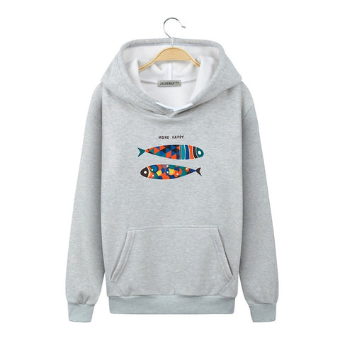 Image of Harajuku Style Hoodies - Solid Color Harajuku Style Icon Series Color Fish Fashion Fleece Hoodie