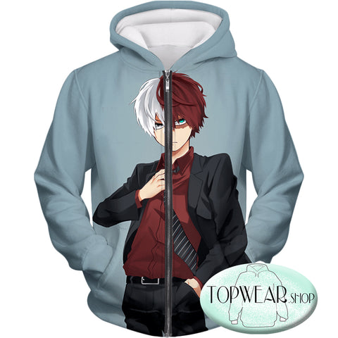 Image of My Hero Academia Hoodies - Formal Dressed Shoto Extremely Cool Promo  Pullover Hoodie