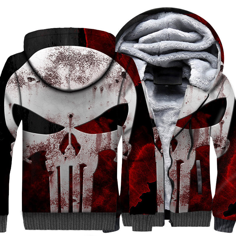 Punisher Jackets - Punisher Movie Series Rusty Terror Skull Icon Fleece Jacket