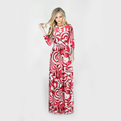Christmas Dresses - Long Sleeves Red-rose Dress