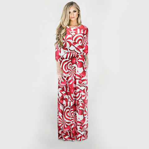 Image of Christmas Dresses - Long Sleeves Red-rose Dress