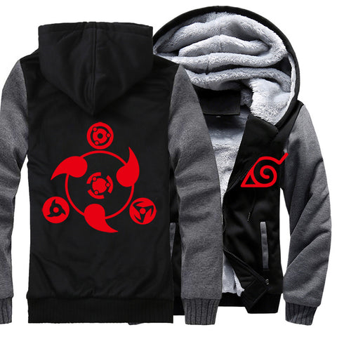Image of Naruto Jackets - Solid Color Naruto Anime Series Naruto Sign Super Cool Fleece Jacket