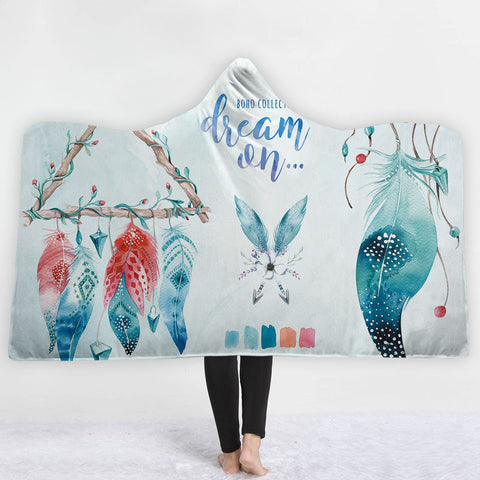 Watercolor Hooded Blankets - Watercolor Charming Feather Pattern Fleece Hooded Blanket