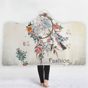 Watercolor Hooded Blankets - Watercolor Feather Fashion Style Fleece Hooded Blanket