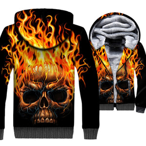 Ghost Rider Jackets - Ghost Rider Series Flame Devil Skull Black Super Cool 3D Fleece Jacket