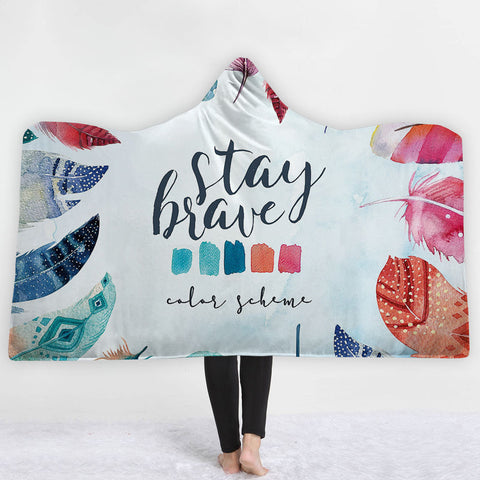 Watercolor Hooded Blankets - Watercolor Feather Icon Fleece Hooded Blanket