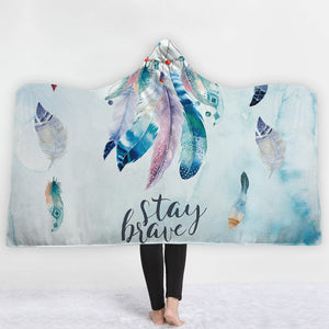 Watercolor Hooded Blankets - Watercolor Series Frost Feather Fleece Hooded Blanket