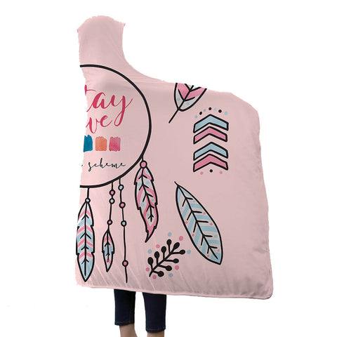 Watercolor Hooded Blankets - Watercolor Series Charming Feather Icon Pink Fleece Hooded Blanket