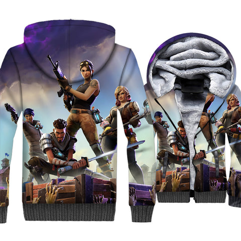 Fortnite Jackets - Solid Color Fortnite Series Royal Competition Hero Combination Super Cool 3D Fleece Jacket