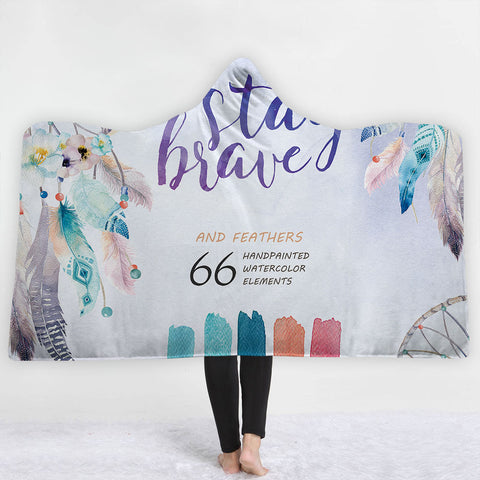 Watercolor Hooded Blankets - Watercolor Series Charming 66 Feather Fleece Hooded Blanket