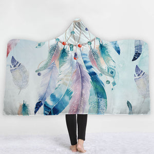 Watercolor Hooded Blankets - Colorful Feather Watercolor Style Fleece Hooded Blanket