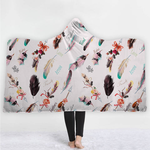 Watercolor Hooded Blankets - Watercolor birds Feather Icon Fleece Hooded Blanket