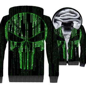 Ghost Rider Jackets - Ghost Rider Series Punisher Skull Super Cool Green 3D Fleece Jacket