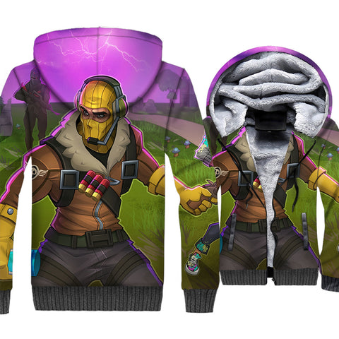 Fortnite Jackets - Solid Color Fortnite Series RAPTOR Cartoon Style Super Cool 3D Fleece Jacket