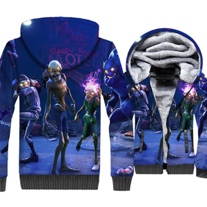 Fortnite Jackets - Solid Color Fortnite Game Series Zombie Model Super Cool 3D Fleece Jacket