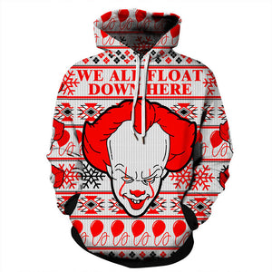 Christmas Hoodies - Cool Christmas Clown Icon Red 3D Hoodie