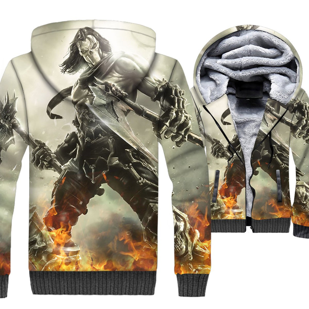 Darksiders Jackets - Darksiders Game Series Death Reaper Character White Super Cool 3D Fleece Jacket
