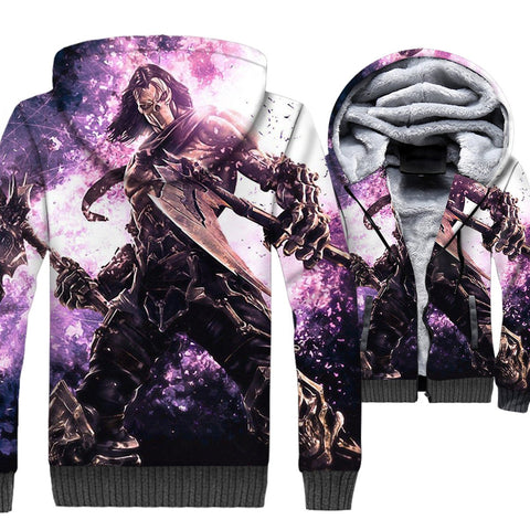 Image of Darksiders Jackets - Darksiders Game Series Death Reaper Character Blue Super Cool 3D Fleece Jacket