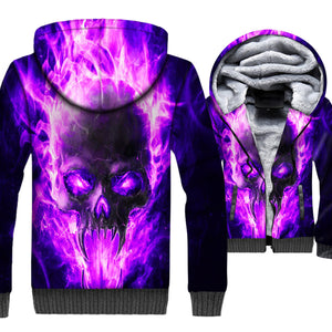 Ghost Rider Jackets - Ghost Rider Series Purple Flame Skull Super Cool 3D Fleece Jacket