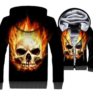 Ghost Rider Jackets - Ghost Rider Series Flame Skull Super Cool Black 3D Fleece Jacket