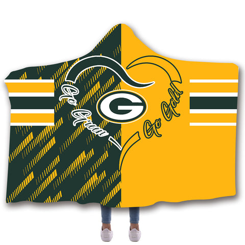 Green Bay Packers Hooded Blankets - Green Bay Packers Series Yellow Fleece Hooded Blanket