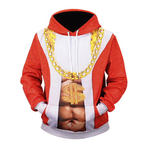 Christmas Hoodies - Super Cool Christmas Golden Necklace Icon Red 3D Hoodie