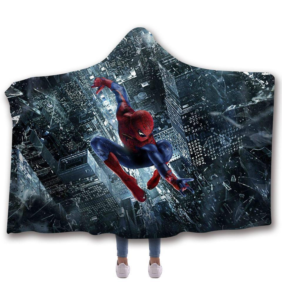 Spider-Man Hooded Blanket - Spiderman Black Night Moving Blanket