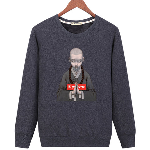 Image of Harajuku Style Sweatshirts - Solid Color Harajuku Style Series Spoof Icon Fleece Sweatshirt