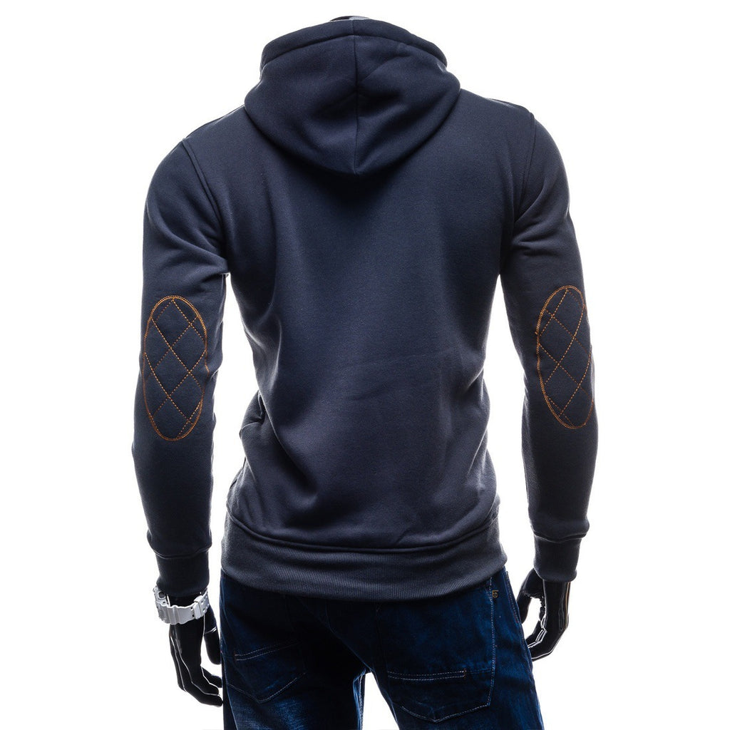 Solid Color Button Hoodies - Pullover Standing Collar Blue Grey Hoodie