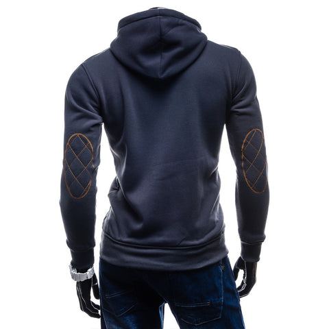 Image of Solid Color Button Hoodies - Pullover Standing Collar Blue Grey Hoodie