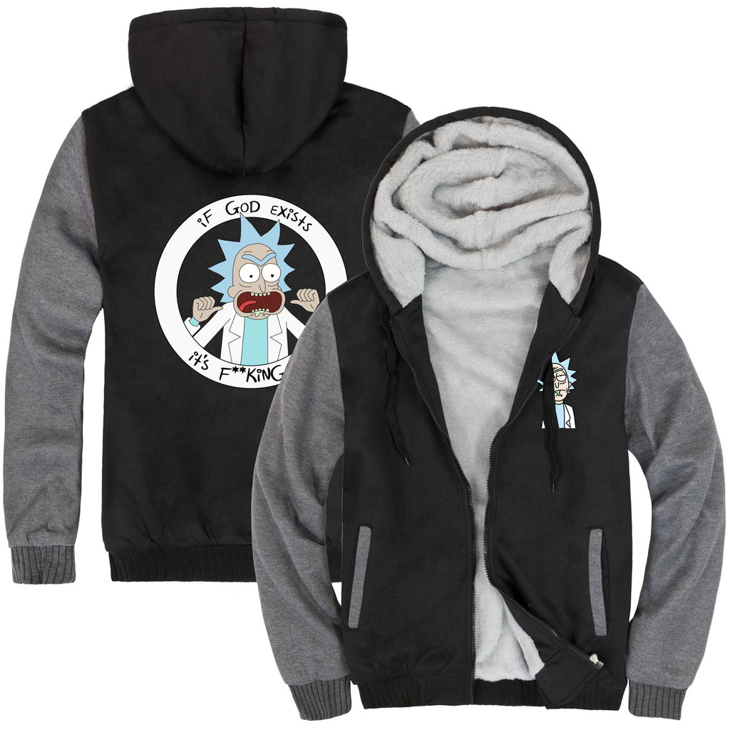 Rick and Morty Jackets - Solid Color Rick and Morty Anime Series Rick Fleece Jacket