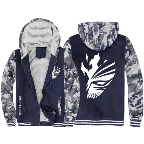 BLEACH Jackets - Solid Color BLEACH Anime Series Kurosaki Ichigo Mask Fleece Jacket