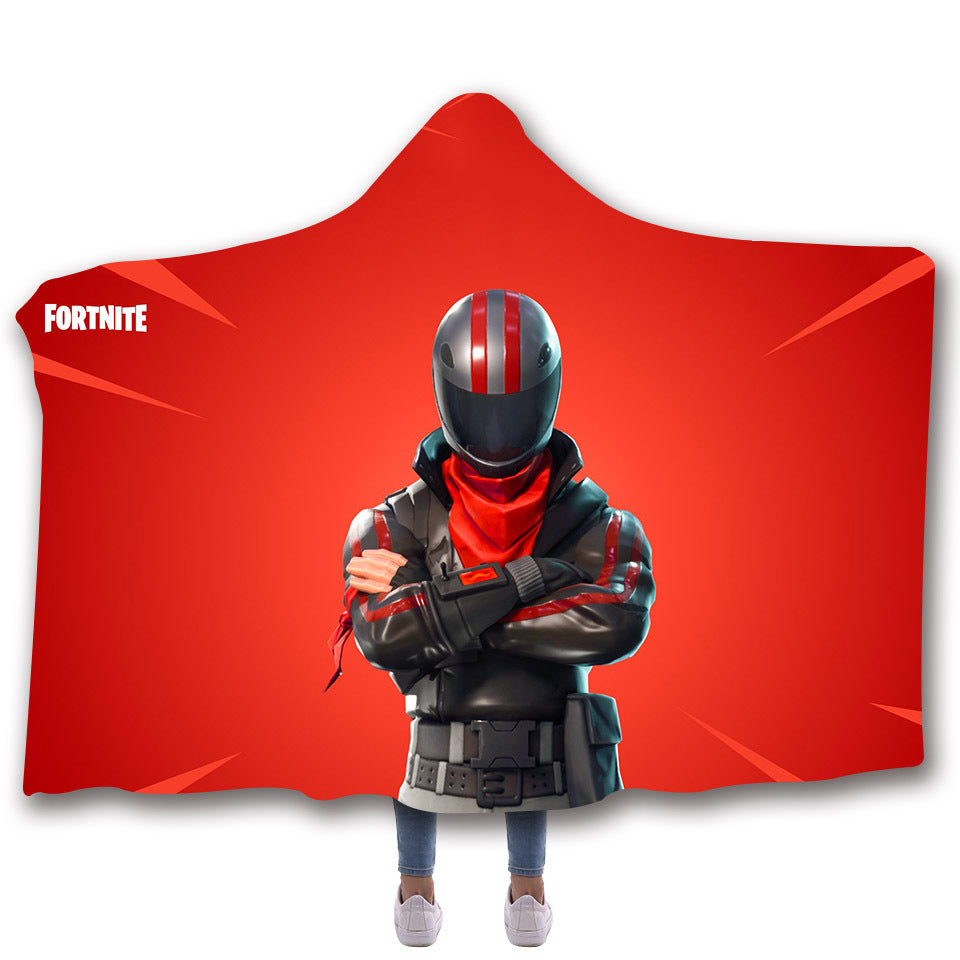 Fortnite Hooded Blankets - Fortnite BURNOUT Red Fleece Hooded Blanket