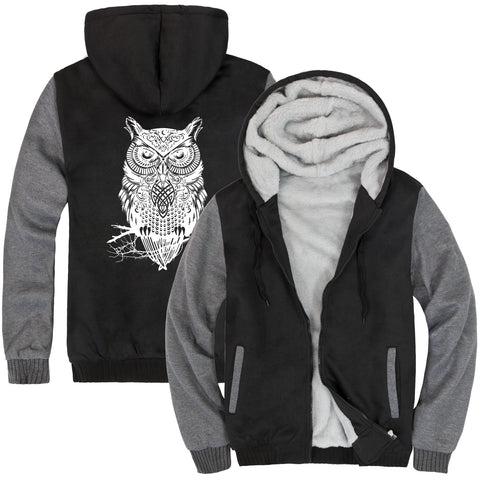 Image of Animal Jackets - Solid Color Animal Series Owl Icon Fleece Jacket