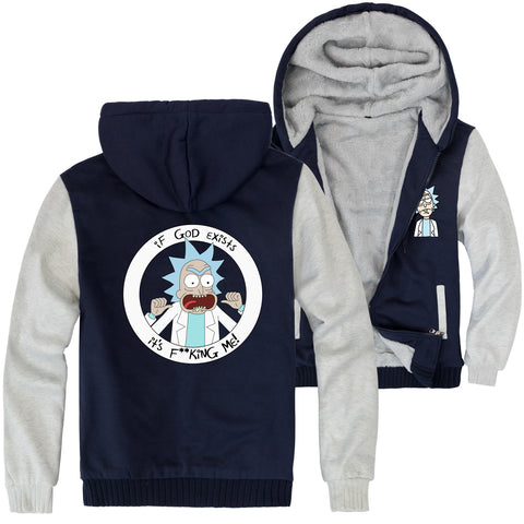 Image of Rick and Morty Jackets - Solid Color Rick and Morty Anime Series Rick Fleece Jacket