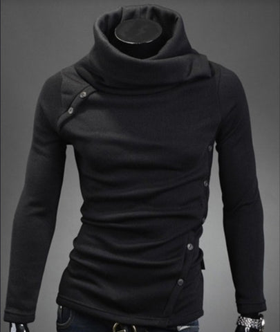 Image of Solid Color Roll Neck Hoodies - Pullover Fleece Black Grey Hoodie