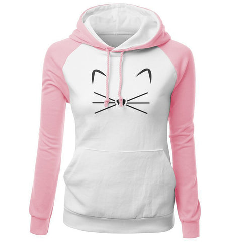 Image of Women Hoodies - Women Hoodie Series Pet Cat Beard Super Cute Fleece Hoodie